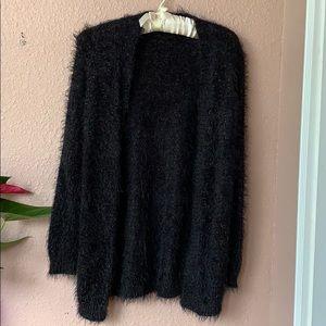 Black soft furry cardigan sweater